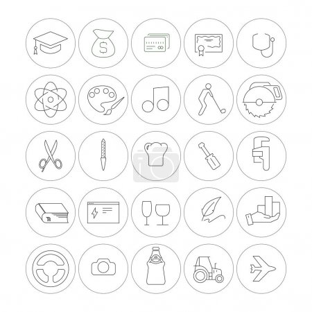 Illustration for Vector icons of professional industries in circles on white background - Royalty Free Image