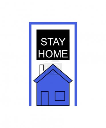 black stay and home lettering and blue house on white background