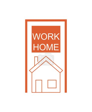 Illustration for Orange work home lettering and house on white background - Royalty Free Image