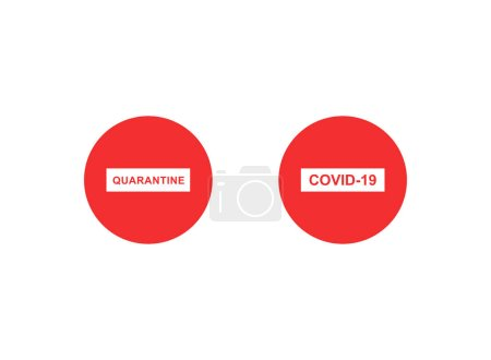 Illustration for Red stop signs with quarantine and covid-19 lettering on white background - Royalty Free Image