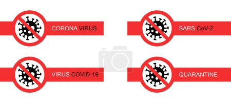 Illustration for Red stop signs with coronavirus bacteria on white background - Royalty Free Image