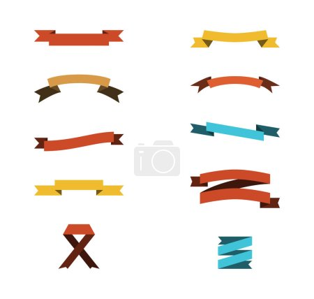 Illustration for Blank colorful ribbons with copy space on white background - Royalty Free Image