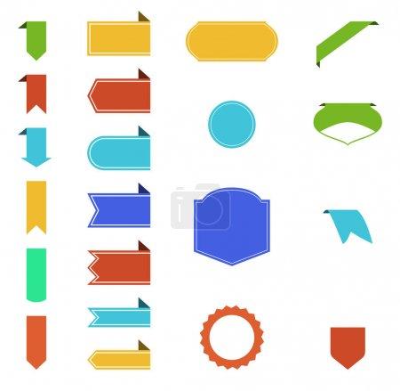 Illustration pour Rubans colorés vierges avec espace de copie sur fond blanc - image libre de droit