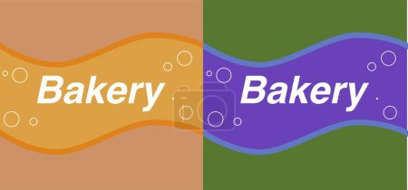 Illustration for Set of brown and green bakery labels with waves and bubbles - Royalty Free Image