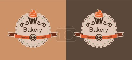 Illustration for Set of brown bakery labels with cupcakes - Royalty Free Image
