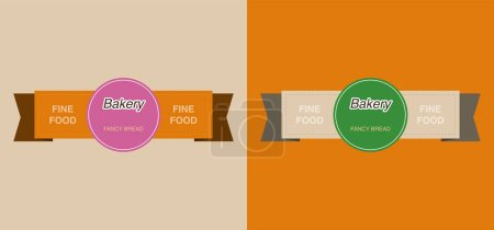Illustration for Set of colorful bakery labels with fine food lettering - Royalty Free Image