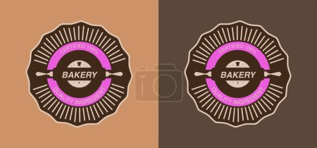 Illustration for Set of brown bakery labels with quality ingredient lettering - Royalty Free Image