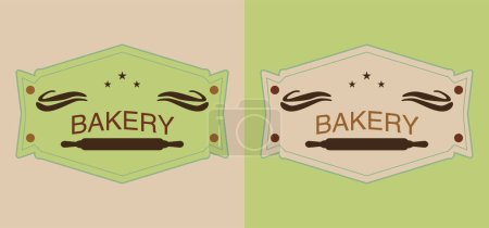 Illustration for Set of beige and green bakery labels with rolling pins - Royalty Free Image