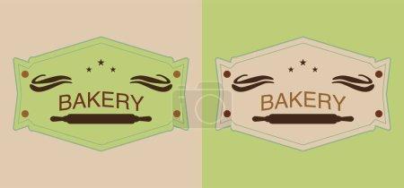 Ilustración de Conjunto de etiquetas de panadería de beige y verde con alfileres para rollos. - Imagen libre de derechos