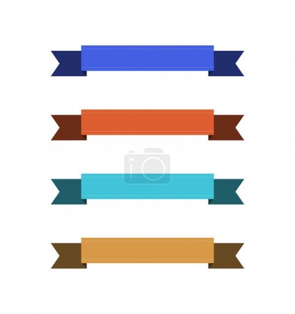 Illustration for Set of empty colorful ribbons with copy space on white background - Royalty Free Image