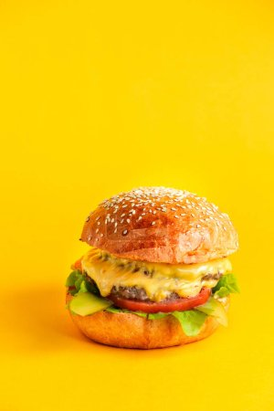 Photo for Side view cheeseburger with double beef patty and cheese  tomato  lattuce leaf sauce and pickled cucumber in burger buns - Royalty Free Image