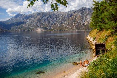 Photo pour Sea mountains Dobrota Montenegro trip travel summer spring nature trip town water - image libre de droit