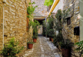 A quiet street in an old village of Pano Lefkara. Larnaca District, Cyprus.