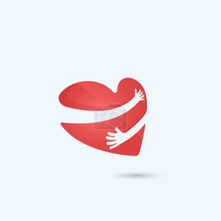 Illustration for Hug yourself logo.Love yourself logo.Love and Heart Care icon.Heart shape and healthcare & medical concept.Vector illustration - Royalty Free Image