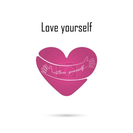 Illustration for Hug yourself logo.Love yourself logo.Love and Heart Care icon.Embrace heart logo design vector template.Embracing logotype negative space icon.Heart shape and healthcare & medical concept.Vector illustration - Royalty Free Image