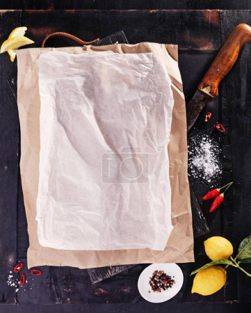 wooden board with culinary paper
