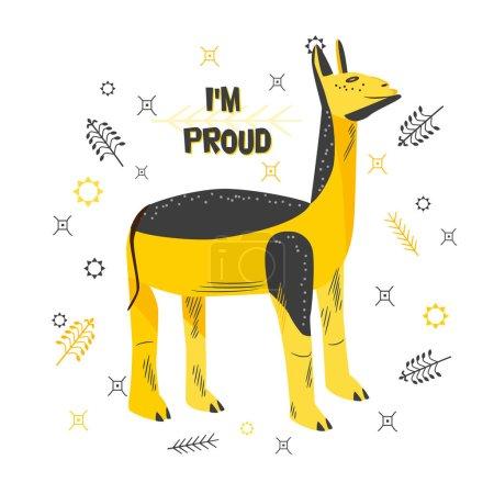 Caractère de bande dessinée de fier lama. Mignon animal de couleur jaune-noir avec expression faciale satisfaite. Inscription - Je suis fier. Illustration vectorielle de style plat isolée sur fond blanc