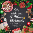 A large collection of Christmas symbols. Greeting ...