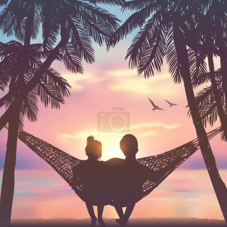 Illustration for Couple in love at the beach on hammock. Inspiration for wedding, date, romantic travel card. Family - Royalty Free Image