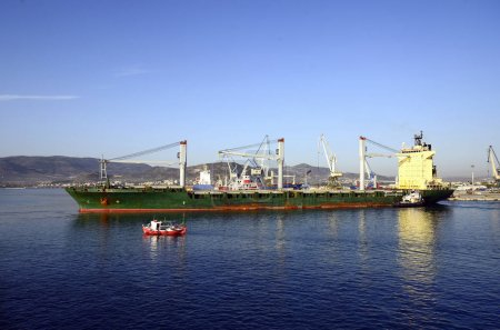 Greece, Industry, cargo ship in harbor of Volos