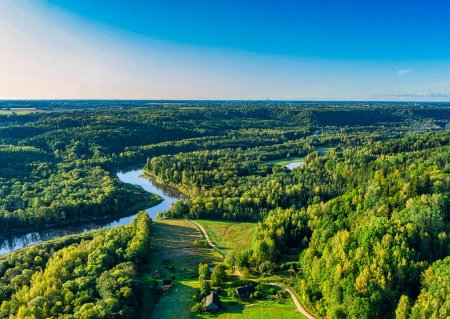 Aerial sight of warm, colorful autumn morning sunr...