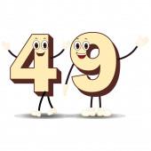 Number Forty Nine - Cartoon Vector Image