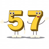 Colorful Number Fifty-Seven Character Vector