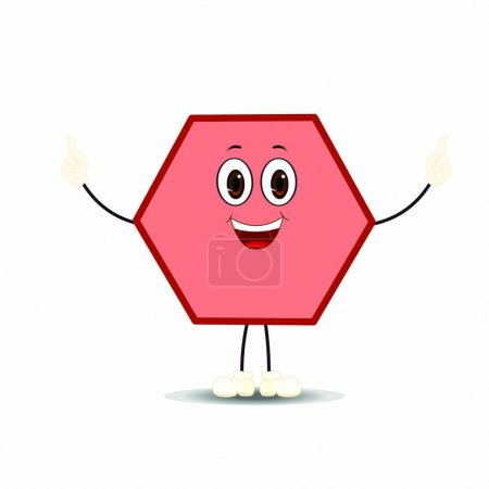 Illustration for Hexagon with Expression - Cartoon Vector Image - Royalty Free Image