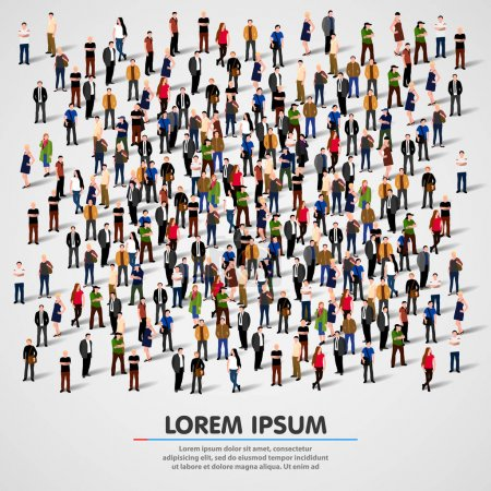 Illustration pour Grand groupe de personnes entassées sur fond blanc. Illustration vectorielle . - image libre de droit