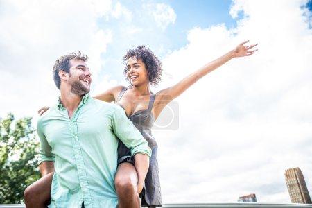 Couple on romantic date having fun