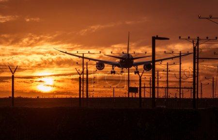 Airplane landing at airport