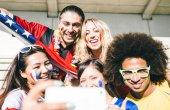 Football fans taking selfie