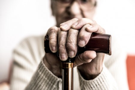 Photo for Close-up view of Old woman with cane - Royalty Free Image