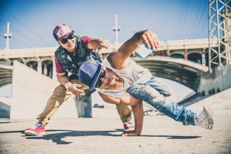 Break dancers taking selfie