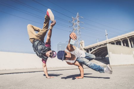 Break dancers taking selfie