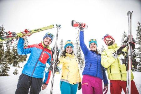 Skiers having fun on snow