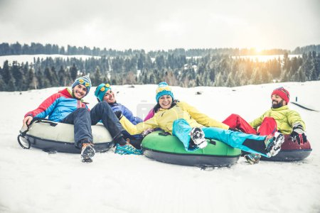 Skiers on winter holiday