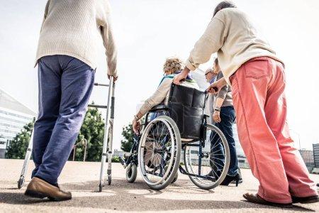 Seniors spending time at park