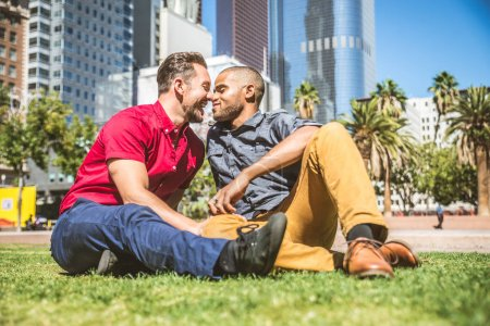 Homosexual couple at romantic date