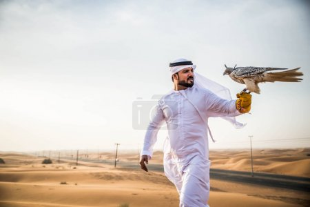 Arabian man with hawk