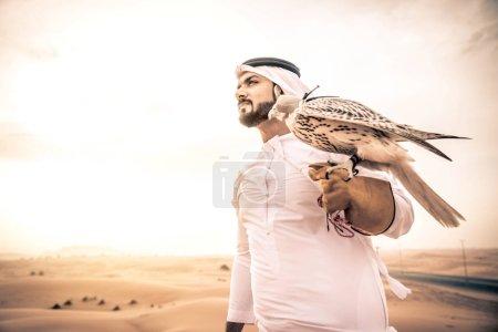 Arabian man with hawk