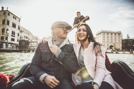 Happy couple on romantic holiday in Venezia