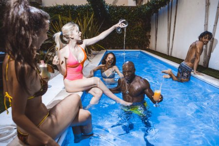 Photo for Group of friends celebrating in the backyard - Royalty Free Image