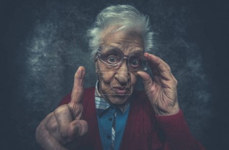 Grandmother portrait set in the studio. Concepts about seniority