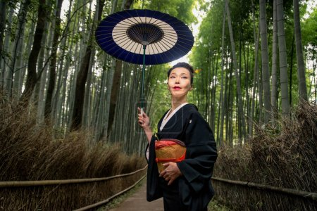 Japanese woman with kimono in Arashiyama bamboo forest