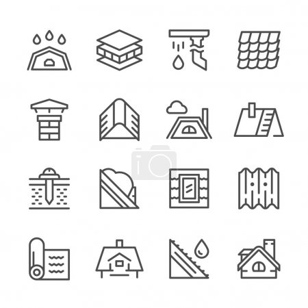 Set line icons of roof