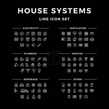 Illustration for Set line icons of house systems isolated on black. Vector illustration - Royalty Free Image