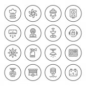 Set round line icons of house systems