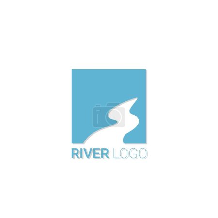 Vector abstract symbol of the river. Drawing with watercolors