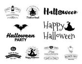 Smile Pumpkin Bat Spiderweb Witch HatHalloween Badges Logos Labels Set Vector Illustration